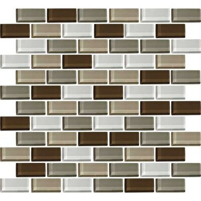 Color Wave Brick-Joint 1 x 2 Glass Mosaic Tile in Downtown Oasis