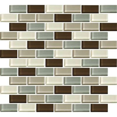 Color Wave 1 x 2 Glass Brick Joint Mosaic Field Tile in Sweet Escape