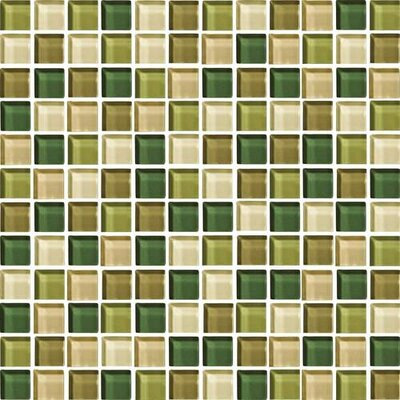 Color Wave 1 x 1 Mosaic Field Tile in Rain Forest