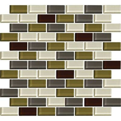 Color Wave 1 x 2 Glass Brick Joint Mosaic Field Tile in Autumn Trail