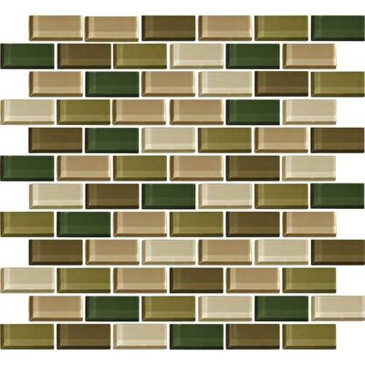 Color Wave Brick-Joint 1 x 2 Mosaic Field Tile in Rain Forest