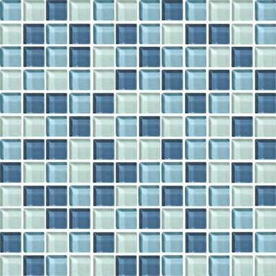 Color Wave 1 x 1 Mosaic Field Tile in Winter Blues