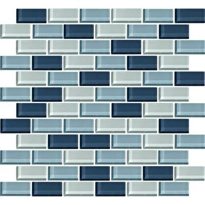 Color Wave 1 x 2 Glass Brick Joint Mosaic Field Tile in Winter Blues