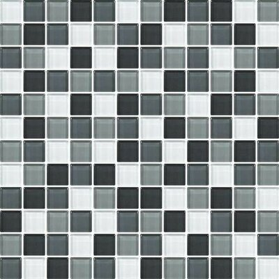 Color Wave 1 x 1 Glass Mosaic Field Tile in Evening Mixer