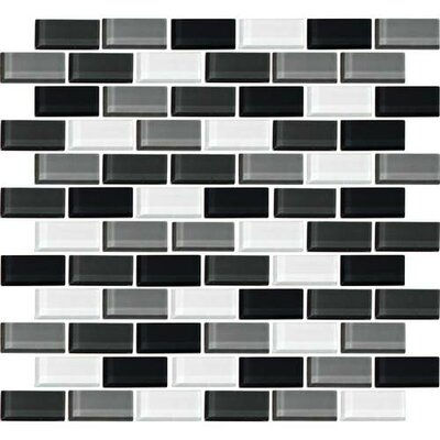 Color Wave 1 x 2 Brick Joint Glass Mosaic Field Tile in Evening Mixer