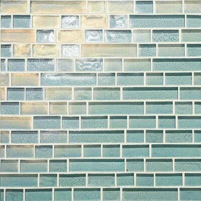 Glass Horizons Linear 0.75 Random Sized Mosaic Field Tile in Sky Blue