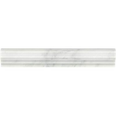 Marble Collection Elegance 12 x 2 Lightly Polished Natural Stone Pencil-Railed Field Tile in First Snow