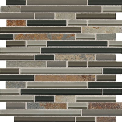 Slate Radiance 5/8 x Random Sized Glass and Metal Mosaic Field Tile in Flint