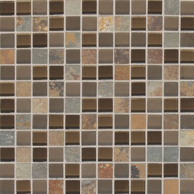 Slate Radiance 1 x 1 Glass and Metal Mosaic Field Tile in Saddle