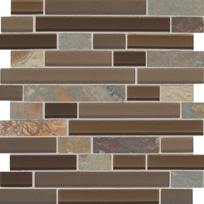 Slate Radiance 1 x Random Sized Glass and Metal Mosaic Field Tile in Saddle