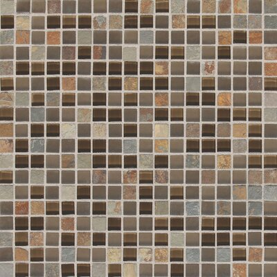 Slate Radiance 5/8 x 5/8 Glass and Metal Mosaic Field Tile in Saddle