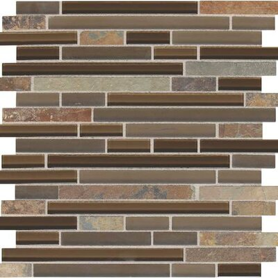 Slate Radiance 5/8 x Random Sized Glass and Metal Mosaic Field Tile in Saddle