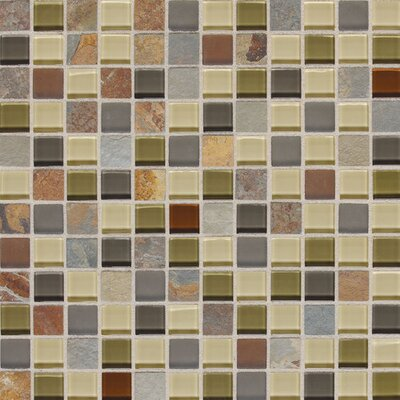 Slate Radiance 1 x 1 Glass and Metal Mosaic Field Tile in Cactus