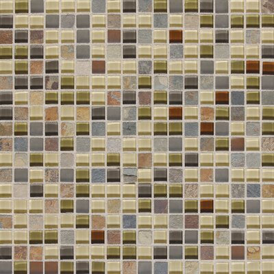 Slate Radiance 5/8 x 5/8 Glass and Metal Mosaic Field Tile in Cactus