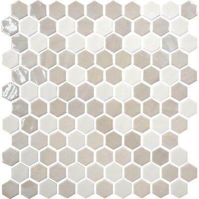 Uptown Glass Hexagon 1 x 1 Mosaic Tile in Alabaster