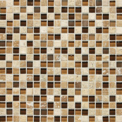 Quincy 0.63 x 0.63 Slate Mosaic Tile in Caramel Travertine