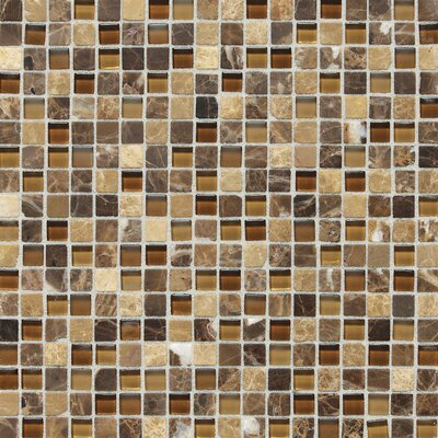 Stone Radiance 0.63 x 0.63 Slate Mosaic Tile in Butternut Emperador