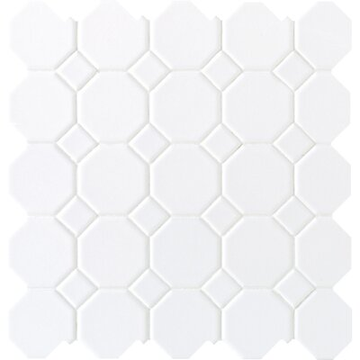 Octagon and Dot 2 x 2 Ceramic Mosaic Tile in Glazed Matte White