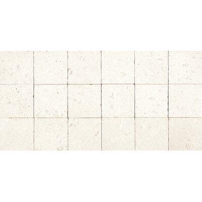 Tumbled 4 x 4 Limestone Mosaic Tile in Blavet Blanc