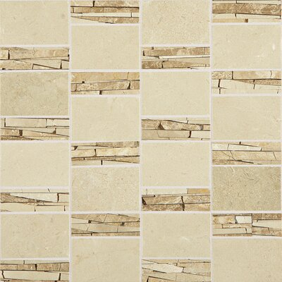 Polished Abstract 2 x 2 Marble Mosaic Tile in Crema Marfil