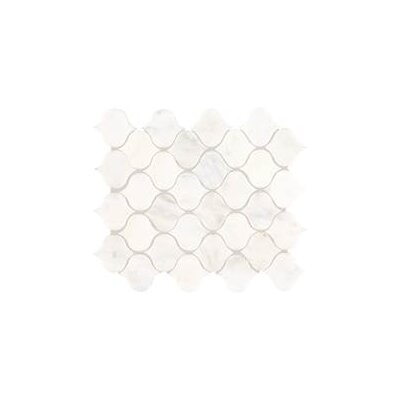 Polished Lantern 2 x 2 Marble Mosaic Tile in First Snow Elegance