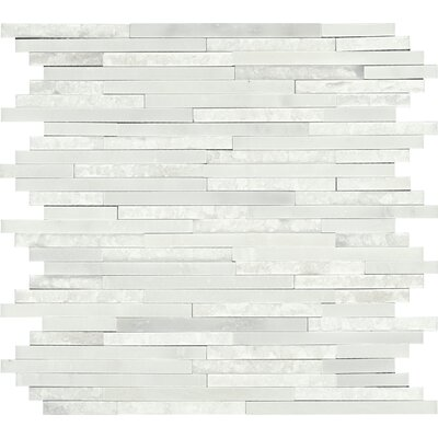 Polished Random Sized Marble Mosaic Tile in First Snow Elegance