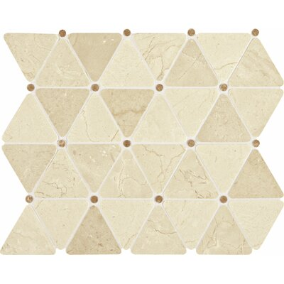 Polished Triangle 2 x 2 Marble Mosaic Tile in Crema Marfil