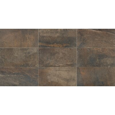 Slate Attache 12 x 24 Porcelain Metal Look/Field Tile in Brown