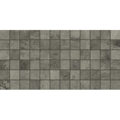 Slate Attache 12 x 24 Porcelain Mosaic Tile in Meta Dark Gray