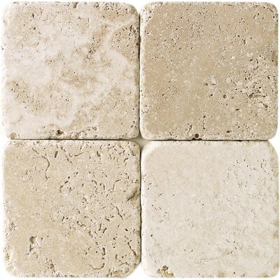 4 x 4 Travertine Subway Tile in Mediterranean Ivory