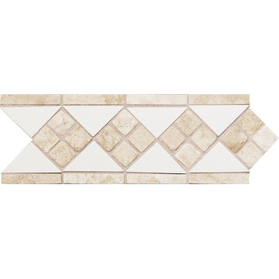 Fashion Accents 12 x 4 Decorative Listello in White/Travertine