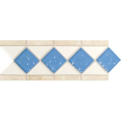 Fashion Accents 11 x 4 Decorative Listello in Arctic White/Lagoon/Travertine