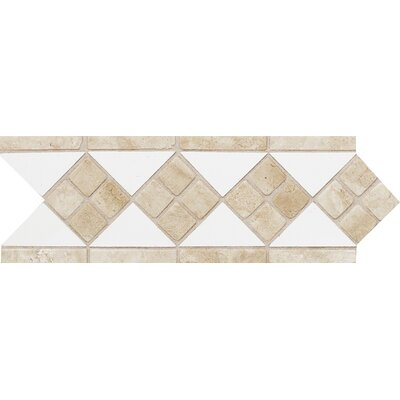 Fashion Accents 12 x 4 Decorative Listello in Arctic White/Travertine