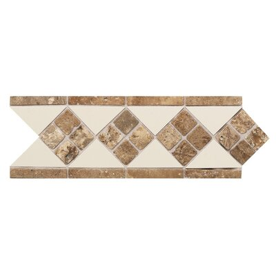 Fashion Accents 12 x 4 Decorative Listello in Almond/Noce/Tumbled Stone