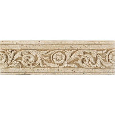 Fashion Accents 13 x 4 Romanesque Decorative Listello in Flora Travertine