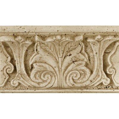 Fashion Accents 8 x 4 Romanesque Decorative Shelf Rail in Acanthus Travertine