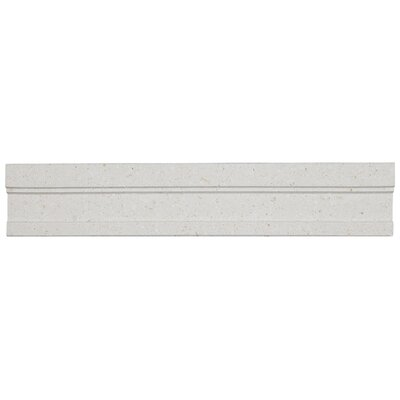 2 x 12 Limestone Honed Modern Chair Rail Tile in Blavet Blanc