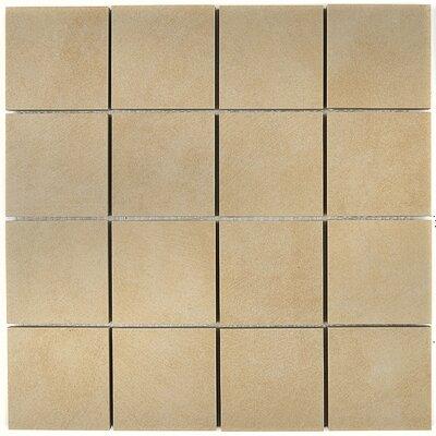 Concrete Visual 3 x 3 Porcelain Mosaic Tile in Sand