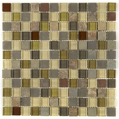 Pelham 1 x 1 Glass and Metal Mosaic Field Tile in Cactus