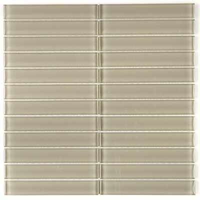 Geneva 1 x 6 Glass Mosaic Tile in Silver Mink