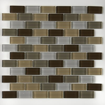 Geneva Brick-Joint 1 x 2 Glass Mosaic Tile in Downtown Oasis