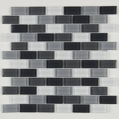 Geneva 1 x 2 Brick Joint Glass Mosaic Field Tile in Evening Mixer