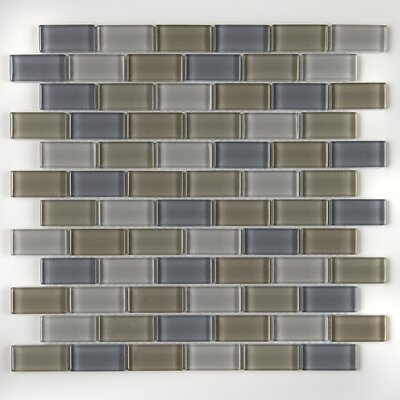 Geneva 1 x 2 Brick Joint Glass Mosaic Field Tile in Willow Waters