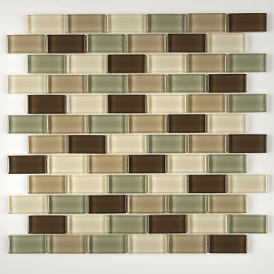 Geneva 1 x 2 Glass Brick Joint Mosaic Field Tile in Sweet Escape