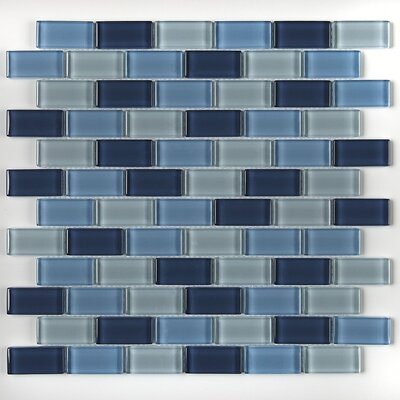 Geneva 1 x 2 Glass Brick Joint Mosaic Field Tile in Winter Blues