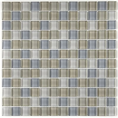 Geneva 1 x 1 Glass Mosaic Field Tile in Willow Waters