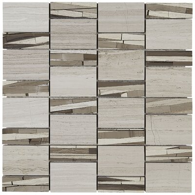 Oxford Abstract 12 x 12 Polished Natural Stone Field Tile in Chenille White