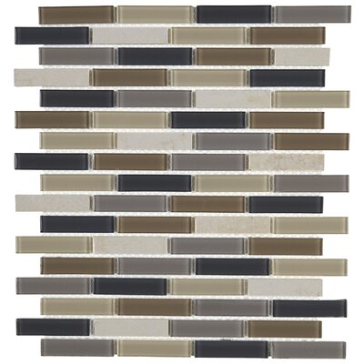 Gibson 0.63 x 3 Natural Stone and Glass Mosaic Tile in Skyline