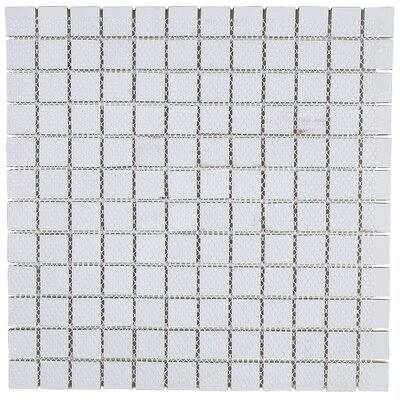 Geneva 1 x 1 Glass Mosaic Field Tile in Feather White