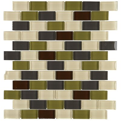 Geneva 1 x 2 Glass Brick Joint Mosaic Field Tile in Autumn Trail